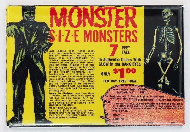 Monster Size Monster Comic Book Ad FRIDGE MAGNET Frankenstein Skeleton