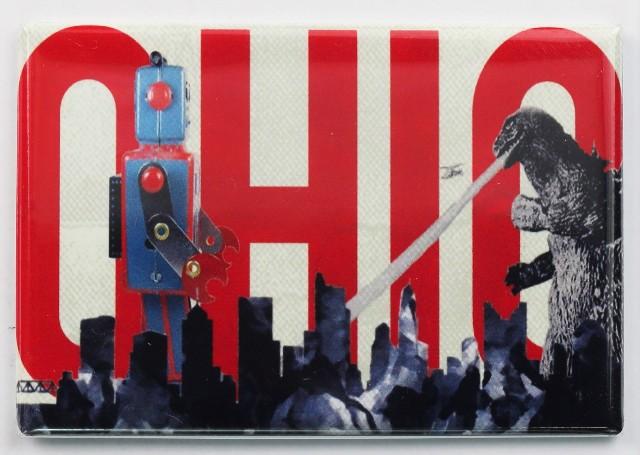 Ohio Godzilla Fighting Giant Robot FRIDGE MAGNET OSU Columbus Skyline Monsters