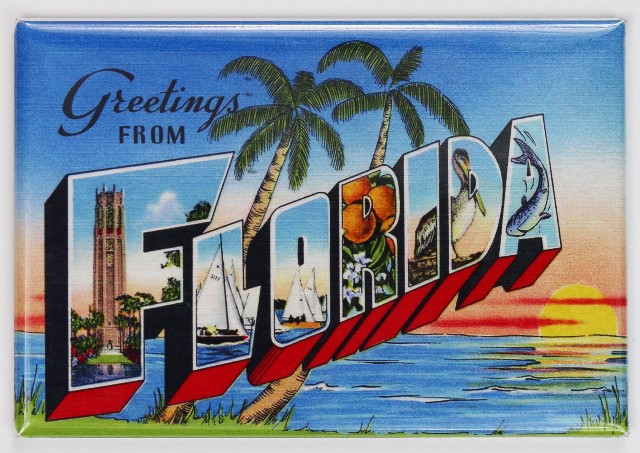 Greetings From Florida Postcard FRIDGE MAGNET Miami Orlando Disney Jacksonville