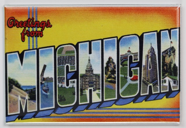 Greetings From Michigan Postcard FRIDGE MAGNET Detroit Great Lakes