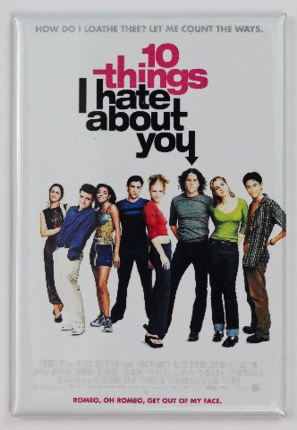 10 Things I Hate About You Movie Poster FRIDGE MAGNET Heath Ledger 90's Romantic Comedy Julie Stiles