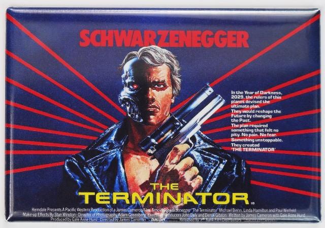 The Terminator British Movie Poster FRIDGE MAGNET Arnold Schwarzenegger Sci Fi