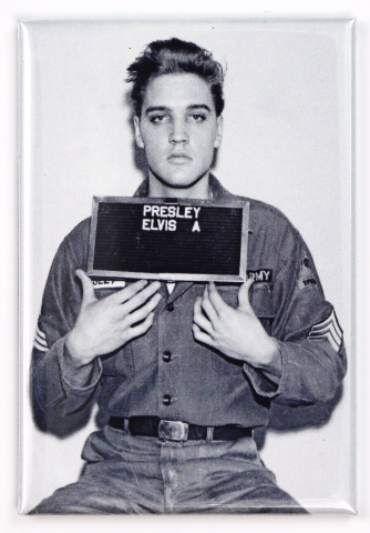 Elvis Presley Mugshot FRIDGE MAGNET Military Uniform B&W Rock and Roll