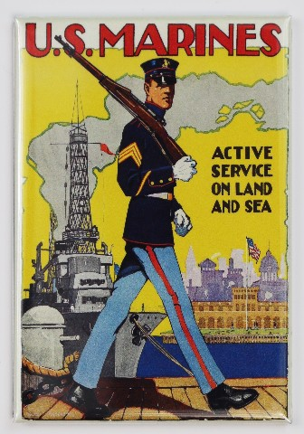 US Marine Military Poster FRIDGE MAGNET Recruiting Active Service on Land and Sea