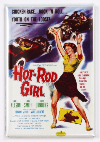 Hot Rod Girl Movie Poster FRIDGE MAGNET 1950's Drag Racing Race Car