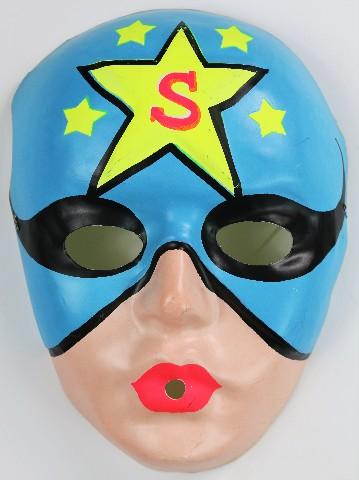 Vintage Superhero Star Man Halloween Plastic Mask Super Hero 1960s