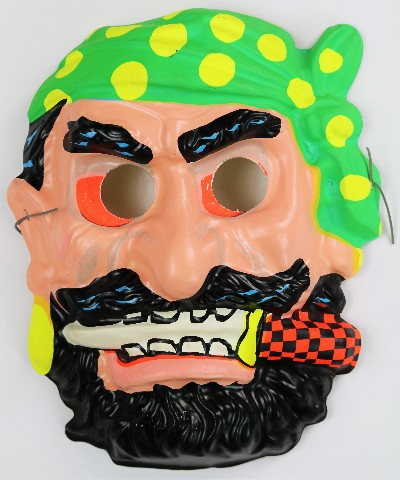 Vintage Pirate Halloween Mask Blackbeard 1960's Zest Mask Sailor Buccaneer Y103
