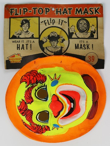 Vintage Clown Flip Top Hat Mask Halloween Mask Holiday House 1960's
