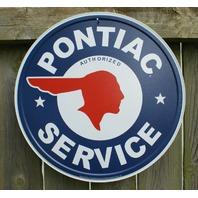 Pontiac Service Round logo vintage repro Tin metal Sign Man Cave Garage star