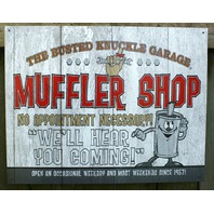 Busted Knuckle Garage mechanic Muffler Shop Tin Sign Garage Mancave Business