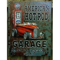 American Hot Rod Garage Muscle Car Roadster Gas Pump Tin Sign Great Man Cave