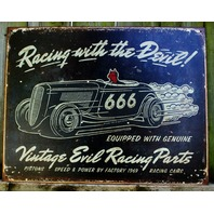 Racing With The Devil Tin Sign Classic Roadster Car Garage Man Cave Business