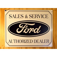 Ford Sales & Services Authorized Dealer Tin Sign Mustang Garage Mechanic D103