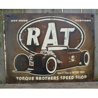 RAT Hot Rod Custom Tin Sign Ford Chevy Muscle Car V8 Garage Man Cave Skull
