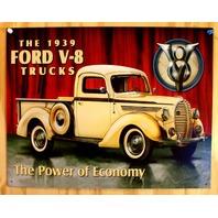 1939 Ford V8 Truck Tin Metal  Sign Hot Rod Garage Mechanic F Series Pickup  F38