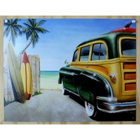 Classic Woody Wagon Tin Sign Hot Rod Surfing Beach Party Surf California E107
