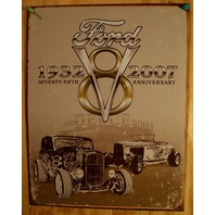 Ford V8 75th Ann. Tin Sign Hot Rod Garage Mechanic Mustang F Series 5.0 D109