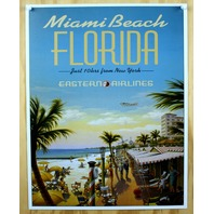 Miami Beach Florida Eastern Airlines Tin Metal Sign Beach Vacation Travel B18