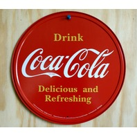 Drink Coca Cola Tin Round Sign Kitchen Decor Soda Pop Classic Logo Garage