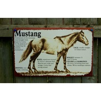 Mustang Tin Metal Sign Horse Country Kitchen Home Farm Rodeo Riding Saddle