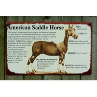 American Saddle Horse Tin Metal Sign Horse Country Kitchen Home Farm Rodeo