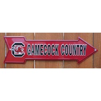 USC University Of South Carolina Gamecocks Tin Metal Arrow Sign NCAA Sports F1