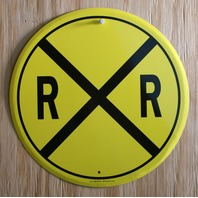 Railroad Crossing Tin Metal Round Sign Train R x R Caution Sign HO Scale E8