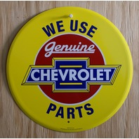 We Use Genuine Chevrolet Parts Tin Metal Round Sign Chevy Camaro SS RS Z28 E009