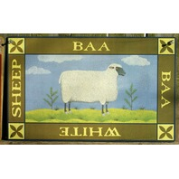 White Sheep Tin Metal Sign Country Kitchen Home Farm Green Gift Wool Fleece