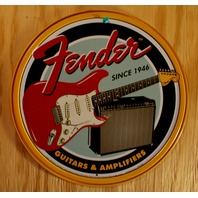 Fender Stratocaster Tin Round Sign Combo Amplifier Amp Twin Reverb Strat 19A