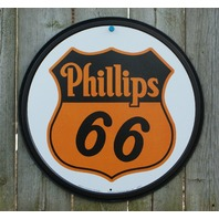 Phillips Conoco 66 Tin Round Sign Man Cave Garage Gas Oil Gasoline filling