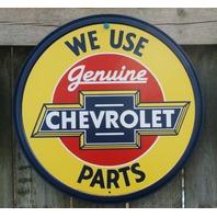 Genuine Chevrolet Parts Tin Metal Round Sign Man Cave Garage Chevy Corvette