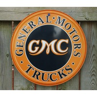 GMC Tin Metal Round Sign Man Cave Garage General Motor Trucks Chevy Canyon