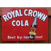 Royal Crown Cola Tin Sign Bottle Soda Pop Coke RC Cola Classic Ad Red