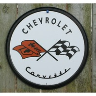 Corvette Tin Metal Round Sign Man Cave Garage Chevy Chevrolet Classic Logo A35