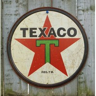 Texaco Tin Round Sign Garage ManCave Gas Gasoline Oil Red Star Vintage Style