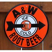 Ice Cold A&W Root Beer Stand Metal Round Sign Car Hop Restaurant Kitchen B94