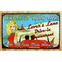 Lovers Lane Drive In Restaurant Service In You Car Tin Sign Garage Humor B7