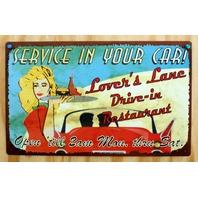 Lovers Lane Drive In Restaurant Service In You Car Tin Sign Garage Humor B7
