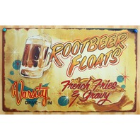 Varsity Drive In Root Beer Floats Tin Sign Vintage Look Diner Food Fries Pop B80