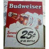 Budweiser Served Here Tin Sign Comedy Beer Bar Garage Mancave bud bottle