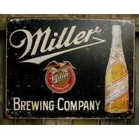 Miller Brewing Company Tin Sign Beer Bar Garage Man Cave Business Bottles E43