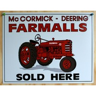 McCormick Deering Farmall Sold Here Tin Metal Sign Tractor Country Barn Farm