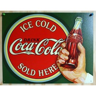 Coca Cola Sold Here Tin Sign Soda Pop Coke Pepsi Classic Advertisement
