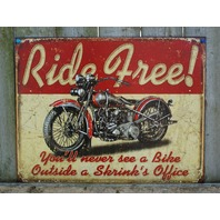 Ride Free Motorcycle Tin Metal Sign Man Cave Garage Classic Bike Hog Road