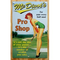 McDivot Pro Shop Tin Metal Sign Pin Up Girl Golf tee golfers gift Club pinup