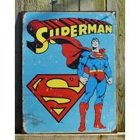 DC Comics Superman Tin Metal Sign Garage Man Cave Bar Clark Kent Superhero