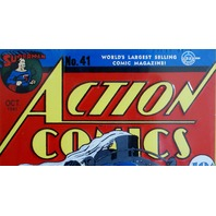 DC Action Comics Superman Tin Metal Sign Classic Embossed 10 cent Collectible D33