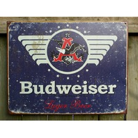 Budweiser Lager Beer Classic Eagle Logo Tin Sign Bar Garage Man Cave Business E19