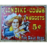 Klondike Cough Nuggets Ad Tin Sign Classic Vintage Style Medicine Ad Red B21